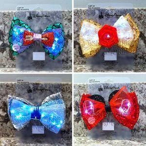 Disney Princess Light Up Hair/Ears Bow Set of 4